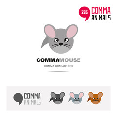 Common field mouse animal concept icon set and modern brand identity logo template and app symbol based on comma sign © Guantanamera