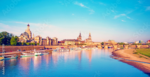 Leinwanddruck Bild The picturesque view of old Dresden over the river Elbe. Saxony, Germany.