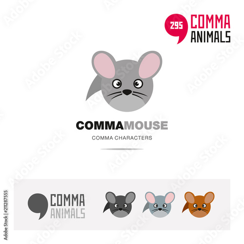 Sticker Common field mouse animal concept icon set and modern brand identity logo template and app symbol based on comma sign