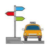 taxi car service with arrow signaling isolated icon vector illustration design