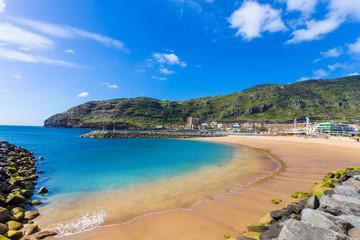 Machico bay, famous beach of Madeira island in Portugal © cristianbalate