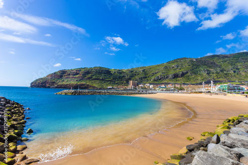 Machico bay, famous beach of Madeira island in Portugal - 211290397