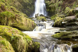 Dramatic view of Waterfall in Wales, Pistyll Rhaeadr. Its highest waterfall of the United Kingdom
