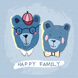 Happy family of funny bears. Father, son, mother. Child illustration clothes template - 211294597