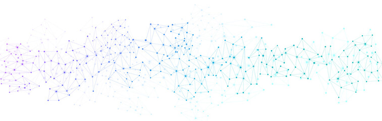 White global communication banner with colorful network.