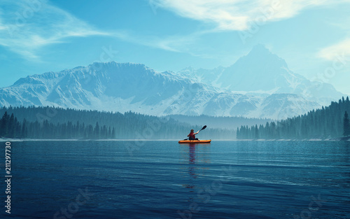 Man with canoe on the lake © Orlando Florin Rosu