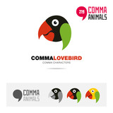 Lovebird parrot bird concept icon set and modern brand identity logo template and app symbol based on comma sign