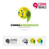 Budgerrigar wavy parrot bird concept icon set and modern brand identity logo template and app symbol based on comma sign