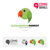 Alexandrian parrot bird concept icon set and modern brand identity logo template and app symbol based on comma sign