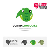 Crocodile animal concept icon set and modern brand identity logo template and app symbol based on comma sign
