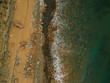 Aerial view of sandy beach with waves. Drone photo  - 211298519