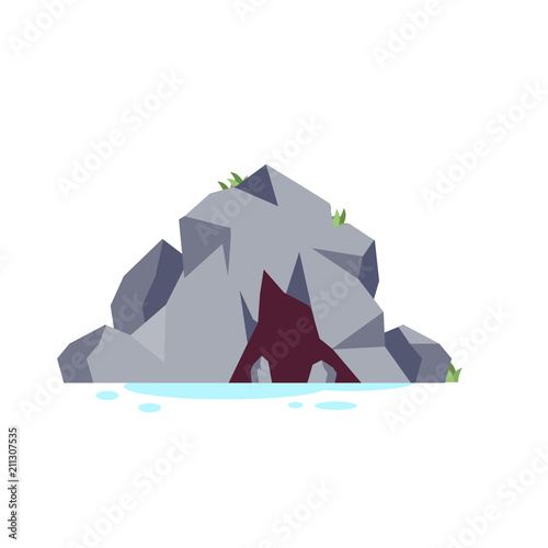 Fotobehang Wit Cave Mountain Nature Flat Style Vector Illustration Whit Background