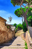 Old stone alley in Siena, Tuscany, Italy.