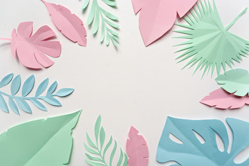 image of paper tropical leaves