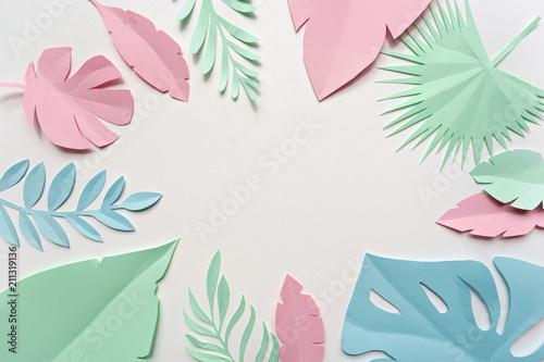 obraz z papieru tropikalnych liści