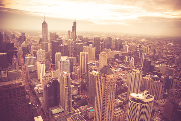 Chicago Illinois skyline cityscape seen from above with vintage retro tone