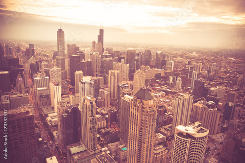 Fotobehang Chicago Chicago Illinois skyline cityscape seen from above with vintage retro tone