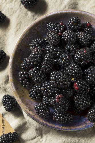 Leinwanddruck Bild Raw Black Organic Blackberries