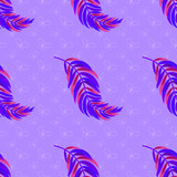Colorful seamless pattern of abstract feathers. Simple flat vector illustration. For the design of paper wallpaper, fabric, wrapping paper, covers, web sites. - 211350913