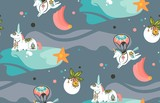Hand drawn vector abstract graphic creative cartoon illustrations seamless pattern with cosmonaut unicorns with old school tattoo,comets and planets in cosmos isolated on dark background - 211353505