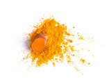 Turmeric (Curcuma) powder pile isolated on white background, top view - 211358391