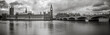 Leinwanddruck Bild - Waterfront view of Palace of Westminster in black and white