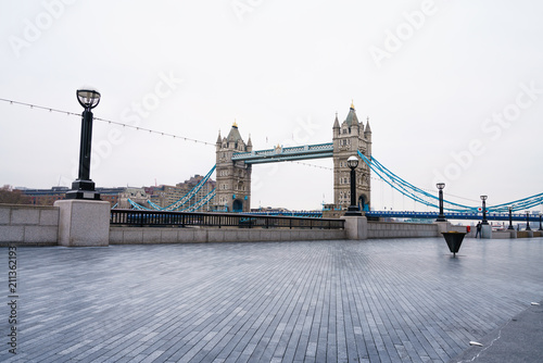 Tower Bridge in London with bright morning sky
