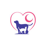 Dog and Cat Love Care with Moon Symbol - 211365392