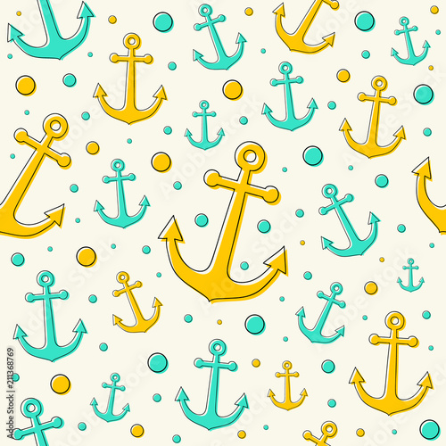 Tapeta Concept of summer pattern in sailor style. Vector.