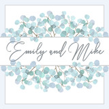 Wedding Invitation, floral invite thank you. Green greenery eucalyptus branches decorative wreath frame pattern. - 211368912