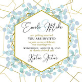 Wedding Invitation, floral invite thank you. Green greenery eucalyptus branches decorative wreath frame pattern. - 211368921