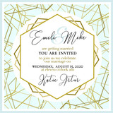 Wedding Invitation, with abstract and gold pattern - 211368930