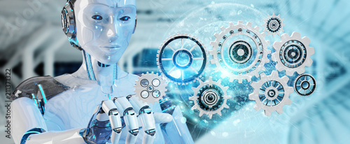 White humanoid robot using digital gears 3D rendering - 211371322
