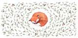 A little sleeping fox surrounded by fallen leaves and berries. Watercolor illustration solated on white background.