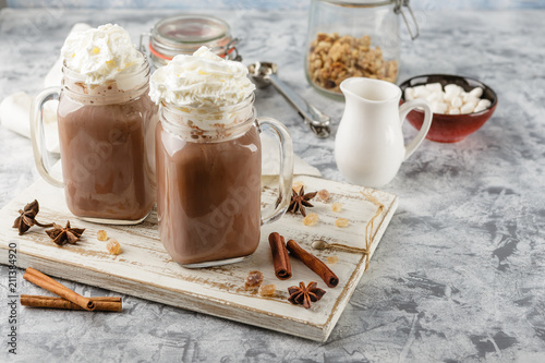 Fotobehang Chocolade Hot chocolate with whipped cream