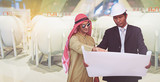 Arab architects and foreman are planning new project - 211385378