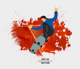 Young male skateboarder. Healthy lifestyle. Vector easy to editable