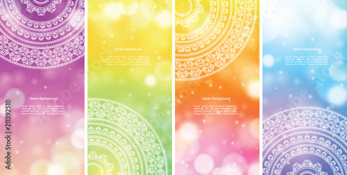 Set of Indian country ornament illustration concept. Ethnic & Colorful Henna Mandala design, on festive and glitter bokeh background.