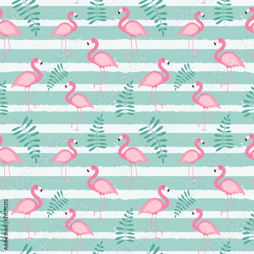 Cute Seamless Flamingo Pattern Vector Illustration