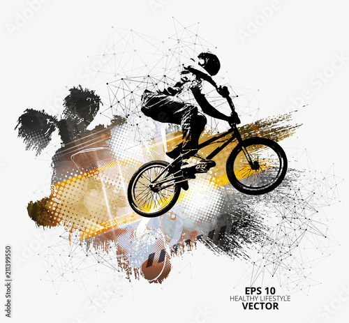 Poster Young male bicycle jumper. Healthy lifestyle. Vector