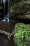 Beautiful calm waterfall landscape at Roughting Linn in Northumberland National Park in England - 211402362