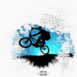 Young male bicycle jumper. Healthy lifestyle. Vector - 211402757