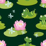 Pattern of funny frogs on a flowering pond