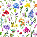 Multi-floral seamless pattern with different flowers. Bright and colorful illustration of a hydrangea, lilac, rose, orchid and other flowers on a white background. - 211404317