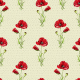 Floral seamless pattern with red poppies. Imitation of watercolor. Drawing with alcohol markers. - 211404335