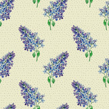 Floral seamless pattern with little flowers of  blue lilac. Art by markers. Imitation of watercolor drawing. - 211404360
