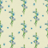 Floral seamless pattern with little flowers of  blue oxypetalum. Art by markers. Imitation of watercolor drawing. - 211404387