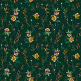 Floral seamless pattern with green Helleborus and twigs. Art by markers on dark green background. Imitation of watercolor drawing. - 211404505