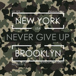 T-shirt typography with camouflage texture. New York, Brooklyn military design for tee shirt. Vector illustration.