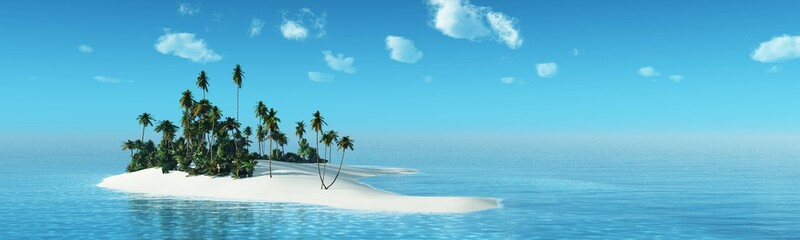 Tropical island with palm trees at sunset. Dawn over the ocean. Palm trees on the beach. 3D rendering